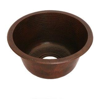 Unikwities 14 X 7 inch Round Drop In Copper Bar Sink in Bronze Finish