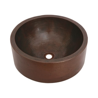 Unikwities Oil-rubbed Bronze Finish Hammered Copper 17-inch Diameter Round Vessel Sink