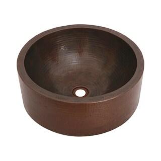 "Copper Sink 17X6 inch Bronze Round Vessel with 6"" apron by Unikwities"