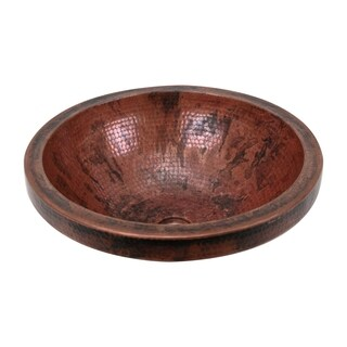 """Copper Sink 17X6 inch Fired Round Vessel with 2"""" apron by Unikwities"""