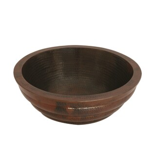 Unikwities Oil-rubbed Bronze Finish Hammered Copper 16-inch Diameter Round Double Wall Vessel Sink