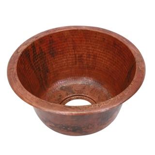 Unikwities Round Hand-hammered Undermount Sierra Fired Copper Sink