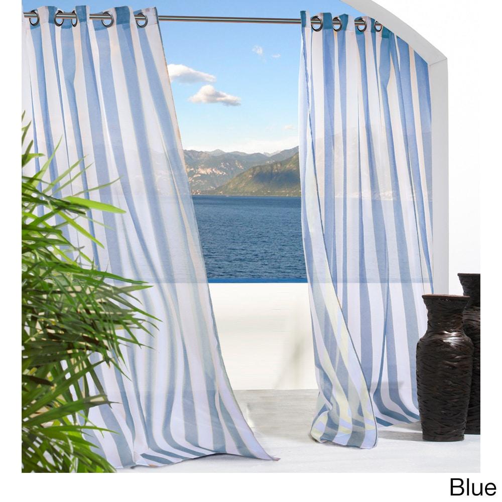 Escape Stripe Grommet Top Indoor/ Outdoor Curtain Panel P...