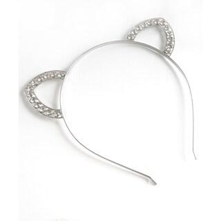 Silvertone Crystal/Metal Cat Ears Headband