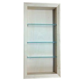 Desoto Grey Wood 34-inch Recessed Bathroom Shelf