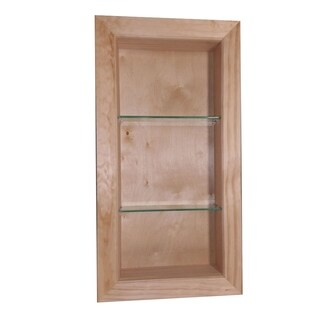 Desoto Unfinished Pine/Glass 22-inch x 3.5-inches Deep Recessed Bathroom Cabinet