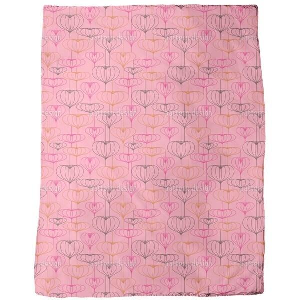 Heart Lantern Pink Fleece Blanket