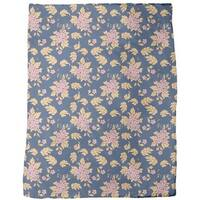 Dark Blue Bouquet Fleece Blanket