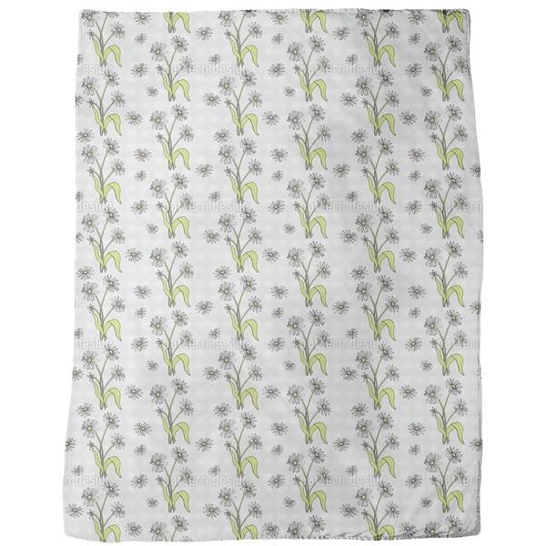 Daisy Flowers Grey Fleece Blanket