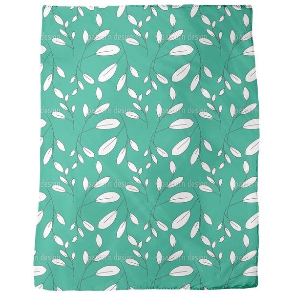 White Leaves Fleece Blanket