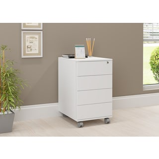 idea White Wood/Melamine 4-drawer Cabinet With Casters