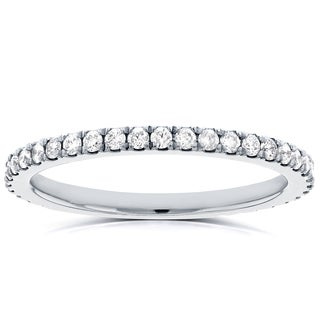 Annello 14k White Gold 1/3ct TDW Diamond Micro-prong Wedding Band (H-I, I1-I2)