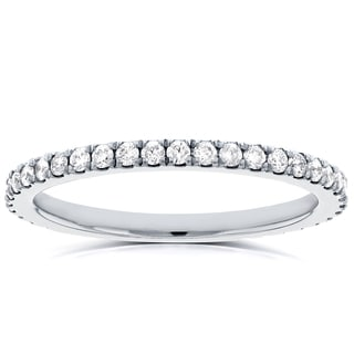 Annello by Kobelli 14k White Gold 1/3ct TDW Diamond Micro-prong Wedding Band