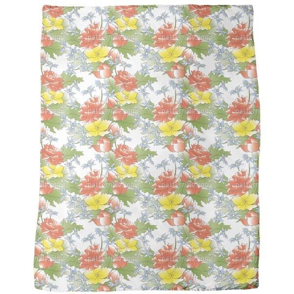 Asian Flower Bouquet Fleece Blanket