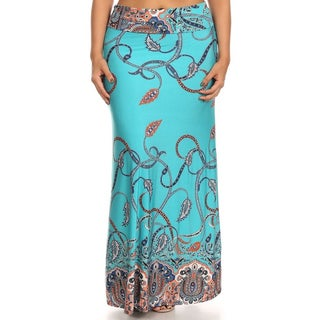 Blue/Beige Paisley Polyester/Spandex Plus-size Maxi Skirt