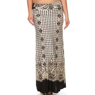 Multicolored Polyester Geometric Print Plus Size Border Maxi Skirt