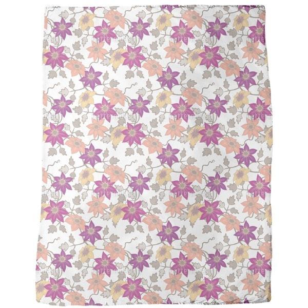Clematis Dream Garden in White Fleece Blanket