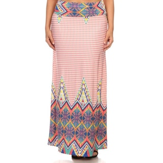 Women's Pink Polyester/Spandex Plus-size Border Print Maxi Skirt
