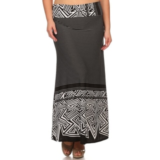 Women's Black Polyester/Spandex Plus-size Border Maxi Skirt
