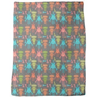 Cute Robots Fleece Blanket