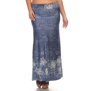 Plus Size Floral Denim Maxi Skirt