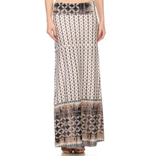 Women's Polyester/Spandex Patterned Maxi Skirt