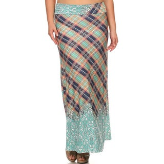 Women's Multicolored Polyester/Spandex Plaid Maxi Skirt