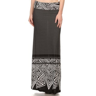 Women's Black/White Polyester/Spandex Mixed-pattern Maxi Skirt