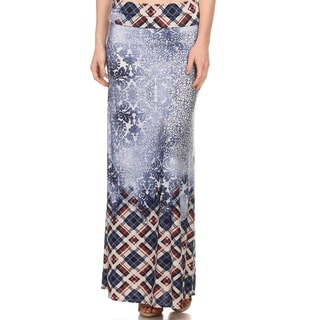 Women's Polyester/Spandex Mixed Pattern Maxi Skirt
