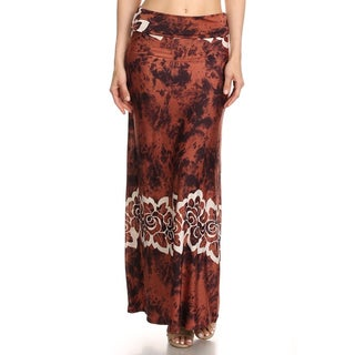 Women's Multicolor Polyester/Spandex Floral Band Maxi Skirt