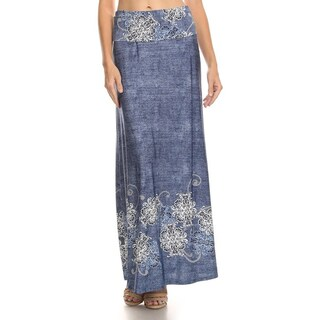 Women's Denim Floral Maxi Skirt