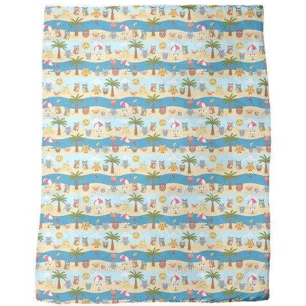 Owls By the Sea Fleece Blanket