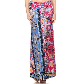 Women's Multicolor Polyester/Spandex Floral Pattern Maxi Skirt