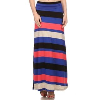 Women's Polyester/Spandex Multi-stripe Maxi Skirt