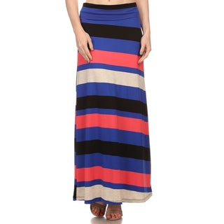 Women's Polyester/Spandex Multi-stripe Maxi Skirt