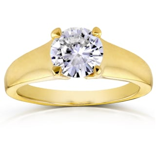 Annello 14k Yellow Gold 1ct Round Moissanite Classic Solitaire Engagement Ring