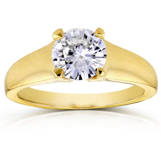Annello by Kobelli 14k Yellow Gold 1ct Round Moissanite Classic Solitaire Engagement Ring