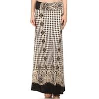 Women's Polyester Paisley Maxi Skirt