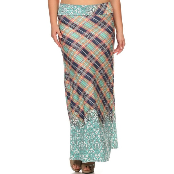 Plus Size Maxi Plaid Skirt