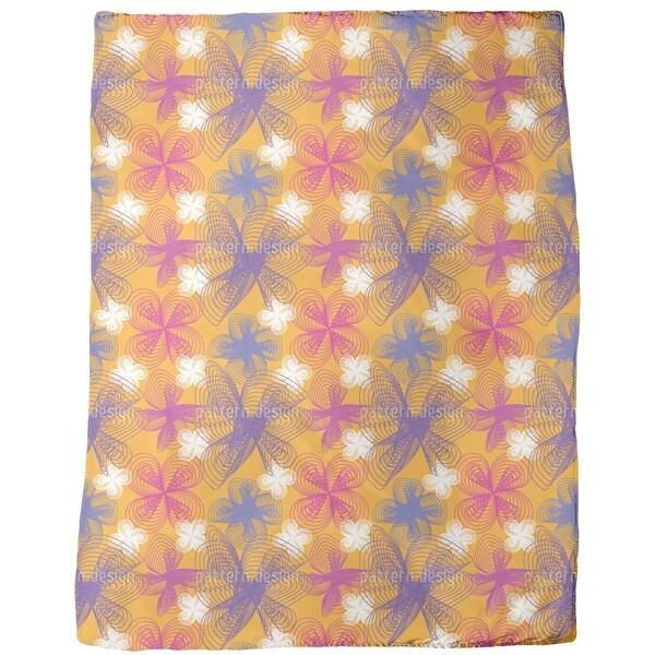 Spiral Flowers Saffron Fleece Blanket