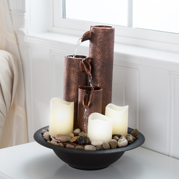 Pure Garden Tiered Column Tabletop Fountain - LED Lights and Candles