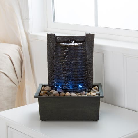 Pure Garden LED Waterfall Tabletop Fountain with LED Lights