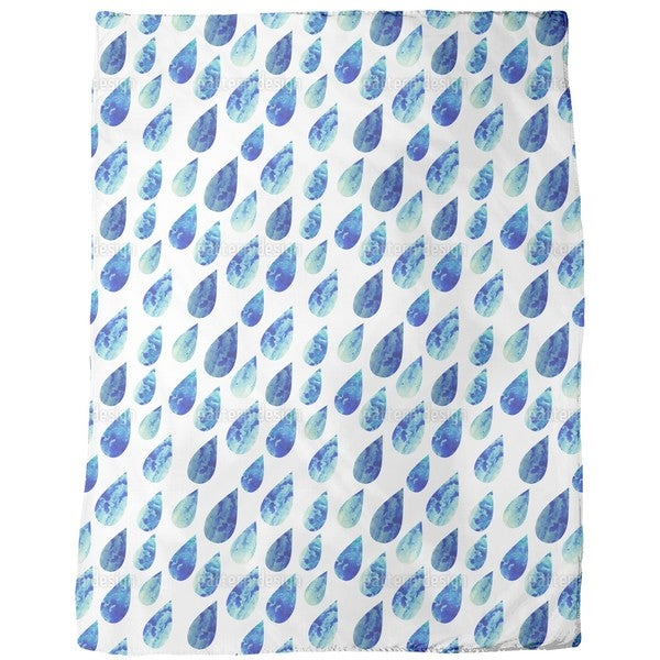 Watercolor Rain Drops Fleece Blanket