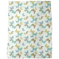 Time of the Butterflies Green Fleece Blanket