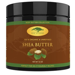 Rise 'N Shine 16 oz. Raw Organic Unrefined Shea Butter for Soap Making, Lotion, Shampoo, Lip Balm and Hand Cream Recipes