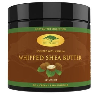 Rise 'N Shine Vanilla Whipped African 8 oz. Shea Butter Cream - Pure 100-percent Raw All Natural Organic Moisture for Soft Skin