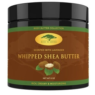 Rise 'N Shine Lavender Whipped African 8 oz. Shea Butter Cream Body Butter Improves Blemishes, Stretch Marks, Scars and Wrinkles