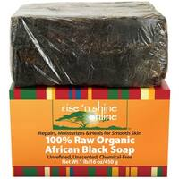 Rise 'N Shine Raw Organic African 16 oz. Black Soap with Coconut Oil and Shea Butter - Body Wash, Shampoo and Face Wash