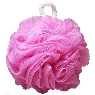 Kingsley Pink Nylon Body Wash Mesh Flower