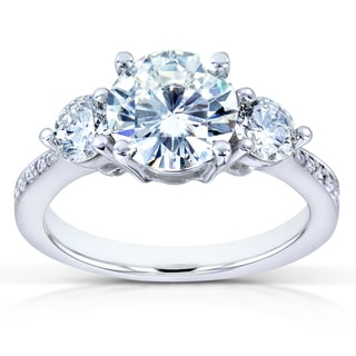 Annello 14k White Gold Forever One Moissanite and 3/5ct TDW Diamond Three Stone Engagement Ring (G-H, I1-I2)